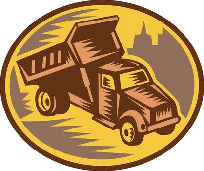 Dump truck woodcut style