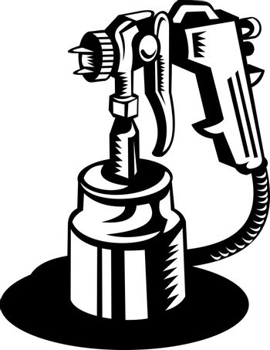 Spray gun viewed from a high angle