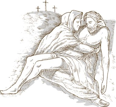 Mother Mary and the dead Jesus Christ with the cross of calvary