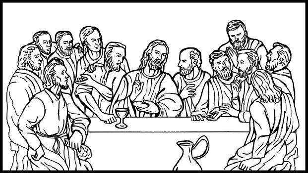 jesus christ with 12 apostles last supper