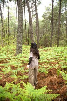 walking through fern