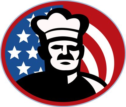 American Chef cook baker with stars and stripes