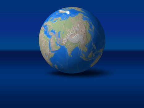 World Globe on blue graphic background Asia, India, indonesia, view