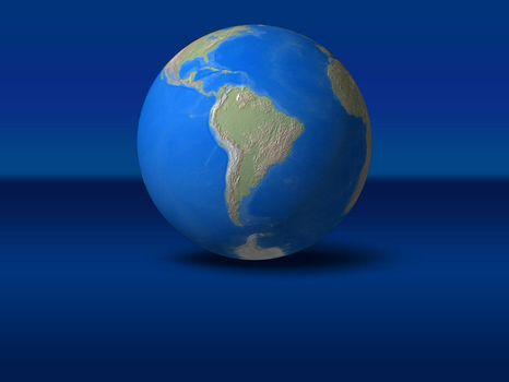 World Globe on blue graphic background South America view
