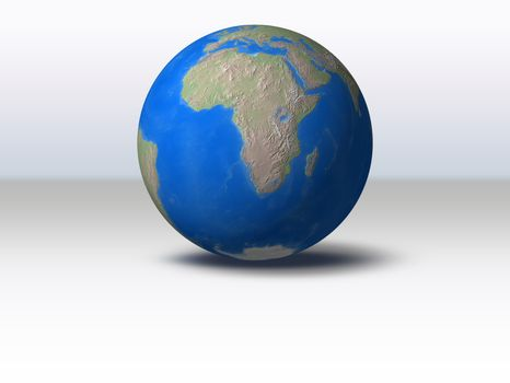 World Globe with shadow and background Africa view