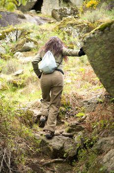 bottom woman hiking