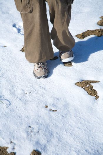 sneakers on snow