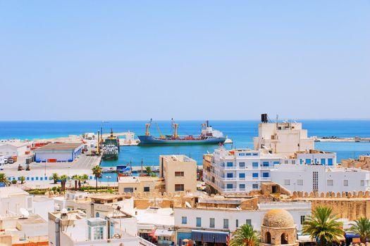 View onto loading port of Sousse, Tunisia