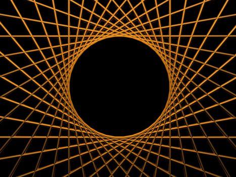 background illustration - golden net on black background with round hole