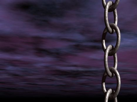dark sky and a metal chain - 3d illustration
