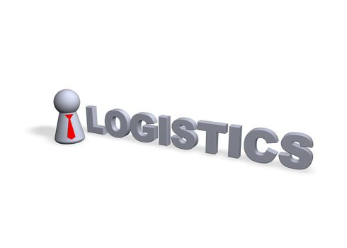 logistics text in 3d and play figure with red tie