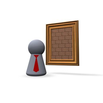 brick painting and play figure with red tie