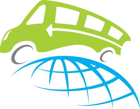 A vector bus travel around whole world illustration