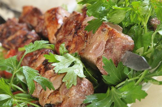 Hot dish of pieces of lamb on skewers in a dish served with vegetables.