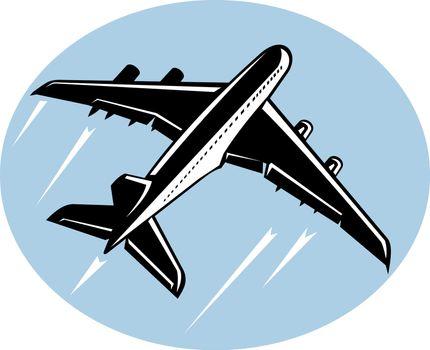 Jumbo jet airliner taking off