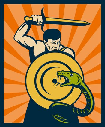 Warrior with sword and shield striking a snake or serpent