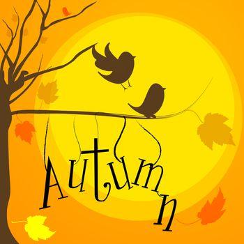 illustration of autumn with birds,tree and sun