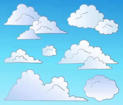 Cartoon clouds collection - vector illustration.