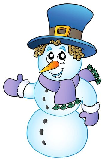 Cartoon snowman with big hat - vector illustration.