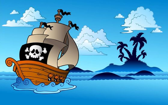 Pirate ship with island silhouette - vector illustration.