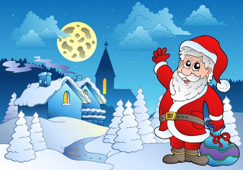 Santa Claus near small village 2 - vector illustration.