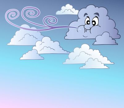 Windy sky with cartoon clouds - vector illustration.