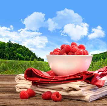 Bowl of raspberries on rustic table in a country setting