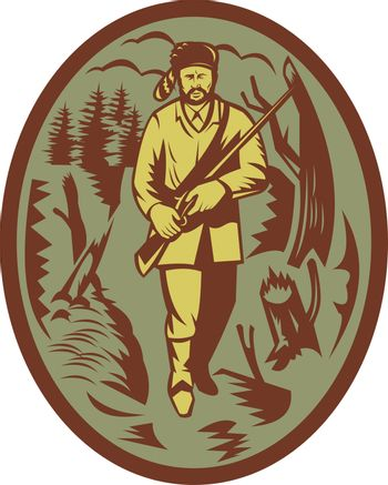 pioneer hunter trapper with rifle