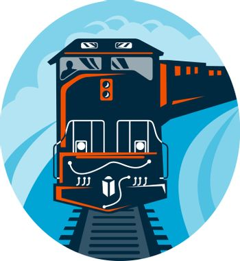 illustration of a Diesel Train traveling on tracks straight up