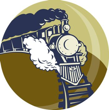 illustration of a Steam train or locomotive coming up set inside a circle