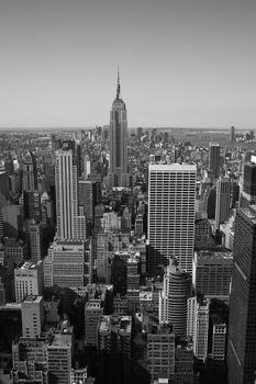 New York City Manhattan panorama in black & white