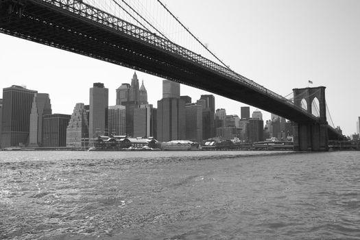 New York City Brooklyn bridge. Panorama of New York City Skyline.  black & white