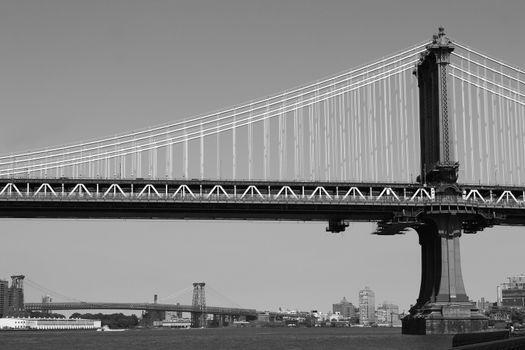 New York City bridges. Panorama of New York City Skyline.  black & white