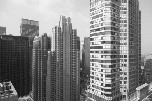 New York City skyscraper at night black & white