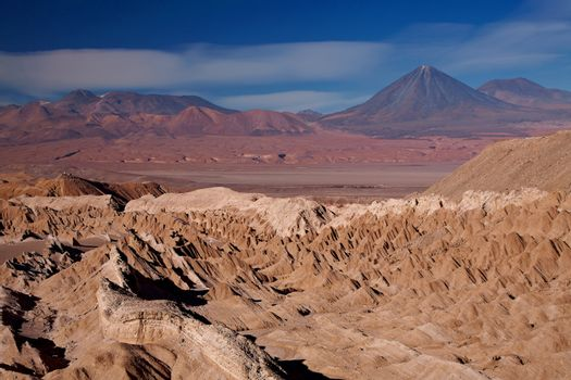 view from Valle de la Muerte (Death Valley) on the volcanoes Licancabur and Juriques, Chile