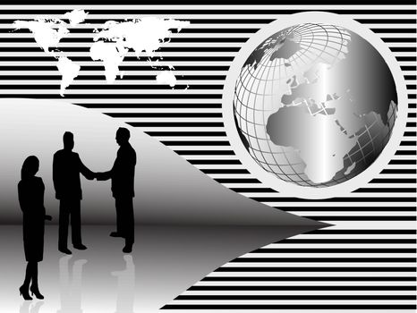 A group of business people shaking hand in front of a silver wire mesh globe of the earth