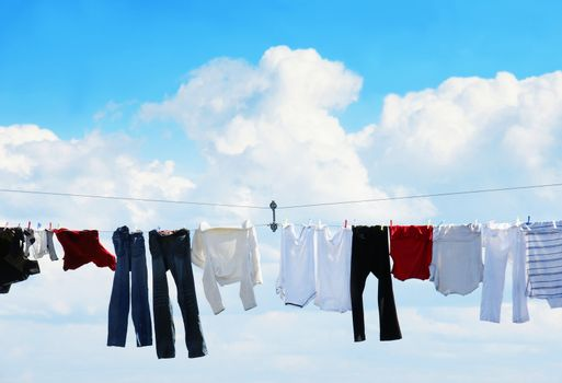 Clothesline and blue sky