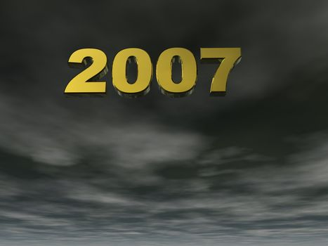 2007 text in 3d on a dark sky