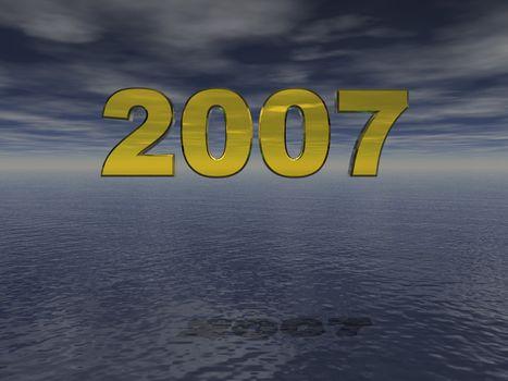 2007 text in 3d  against dark sky and ocean