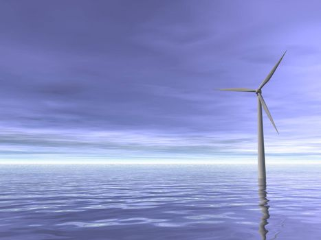 Wind turbine at the ocean and blue sky