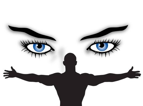 man and woman with blue eyes