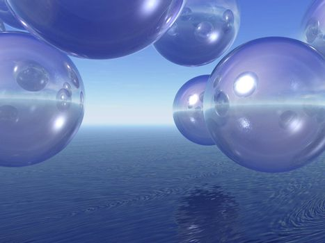 transparent balls fly over the sea - 3d illustration