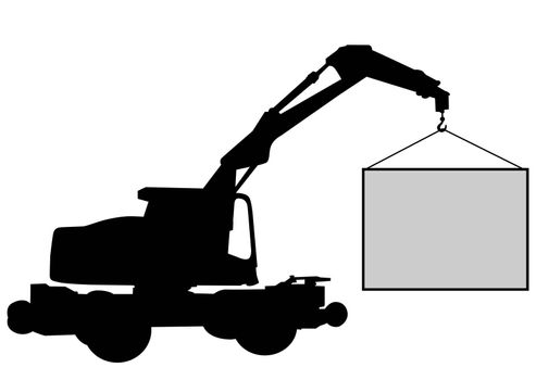 crane with blank sign