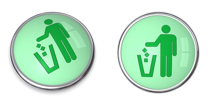 Button Man uses Wastebin Pictogram