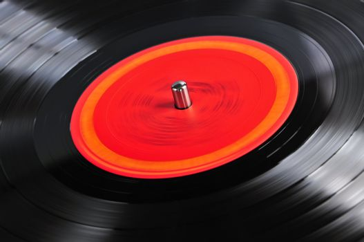 Record on turntable