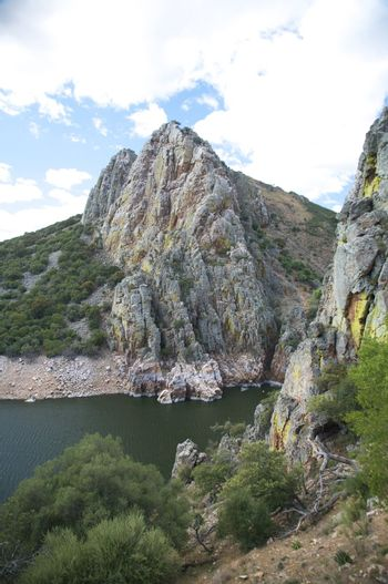 rock mountain on the river