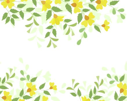 Editable vector illustration of a flowering plant border