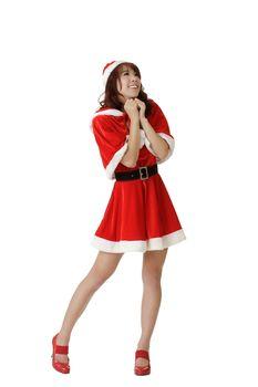 Exciting Christmas woman praying