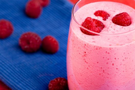 A cool raspberry smoothie detail