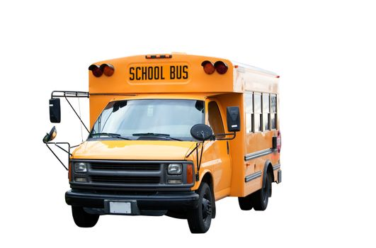 A yellow isolated school bus on white
